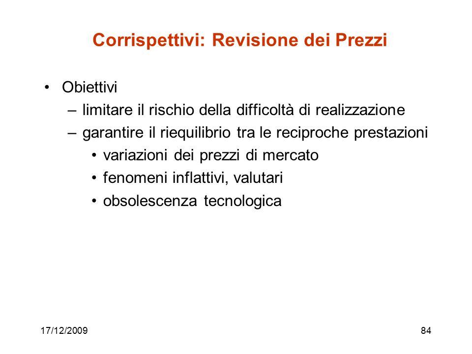17/12/200984 Corrispettivi: Revisione dei Prezzi Obiettivi –limitare il rischio della difficoltà di realizzazione –garantire il riequilibrio tra le re