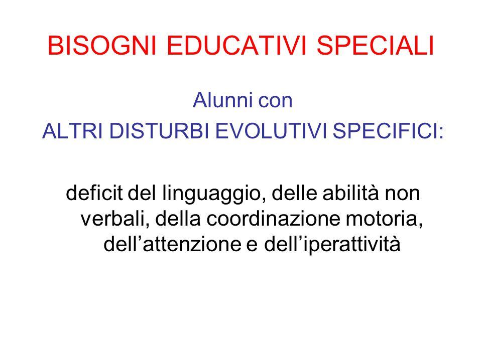 BISOGNI EDUCATIVI SPECIALI Alunni con ALTRI DISTURBI EVOLUTIVI SPECIFICI: deficit del linguaggio, delle abilità non verbali, della coordinazione motoria, dell'attenzione e dell'iperattività