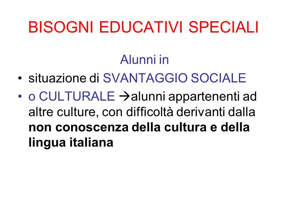 BISOGNI EDUCATIVI SPECIALI Alunni in situazione di SVANTAGGIO SOCIALE o CULTURALE  alunni appartenenti ad altre culture, con difficoltà derivanti dal