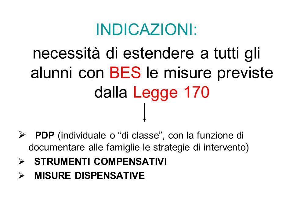 """INDICAZIONI: necessità di estendere a tutti gli alunni con BES le misure previste dalla Legge 170  PDP (individuale o """"di classe"""", con la funzione di"""