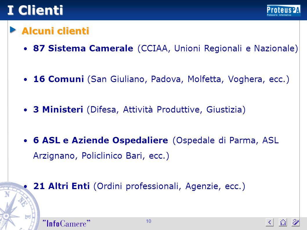 10 I Clienti Alcuni clienti 87 Sistema Camerale (CCIAA, Unioni Regionali e Nazionale) 16 Comuni (San Giuliano, Padova, Molfetta, Voghera, ecc.) 3 M