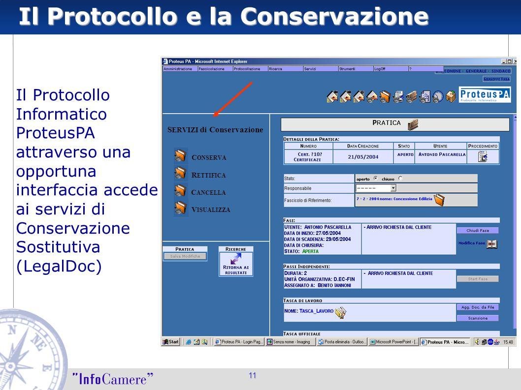 11 Il Protocollo Informatico ProteusPA attraverso una opportuna interfaccia accede ai servizi di Conservazione Sostitutiva (LegalDoc) C ONSERVA R ETTI
