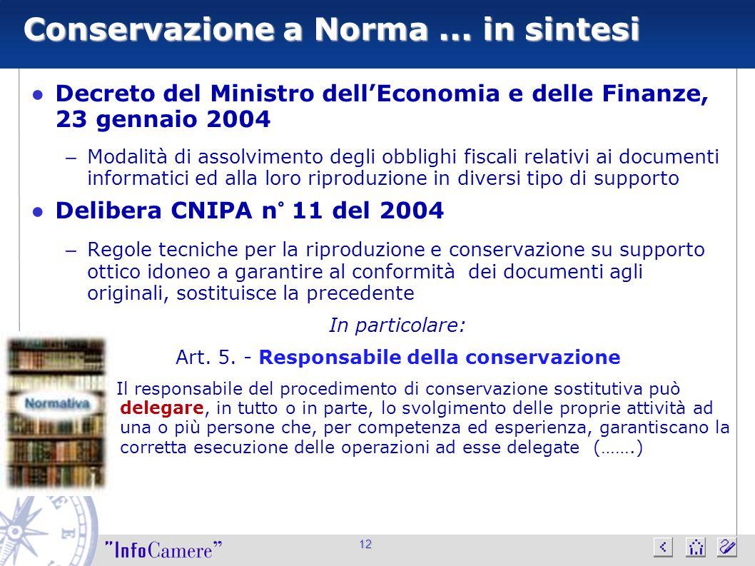 12 Conservazione a Norma... in sintesi ● Decreto del Ministro dell'Economia e delle Finanze, 23 gennaio 2004 – Modalità di assolvimento degli obblighi