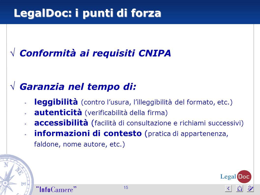 15 LegalDoc: i punti di forza  Conformità ai requisiti CNIPA  Garanzia nel tempo di:  leggibilità (contro l'usura, l'illeggibilità del formato, etc