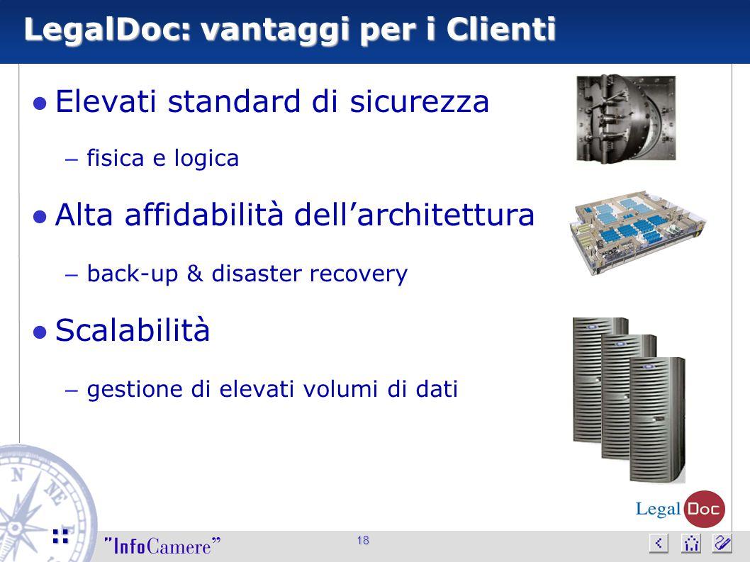 18 :: LegalDoc: vantaggi per i Clienti ● Elevati standard di sicurezza – fisica e logica ● Alta affidabilità dell'architettura – back-up & disaster re
