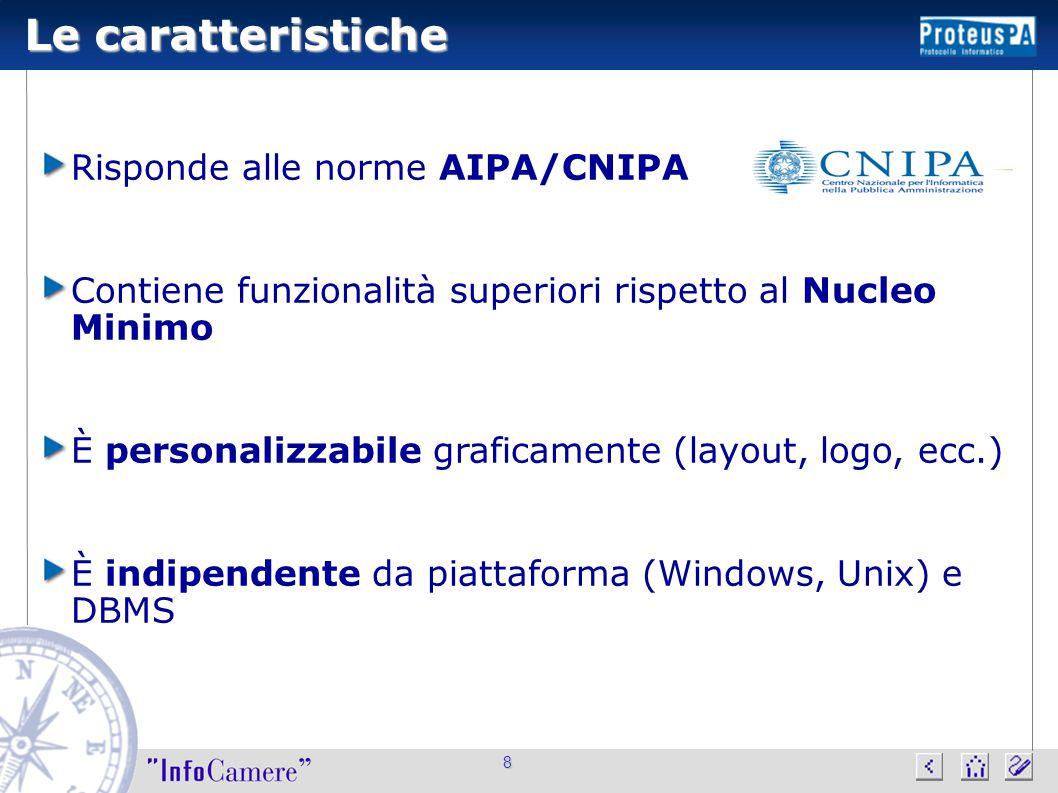 8 Le caratteristiche Risponde alle norme AIPA/CNIPA Contiene funzionalità superiori rispetto al Nucleo Minimo È personalizzabile graficamente (layout,