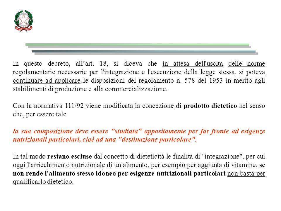 In questo decreto, all'art. 18, si diceva che in attesa dell'uscita delle norme regolamentarie necessarie per l'integrazione e l'esecuzione della legg