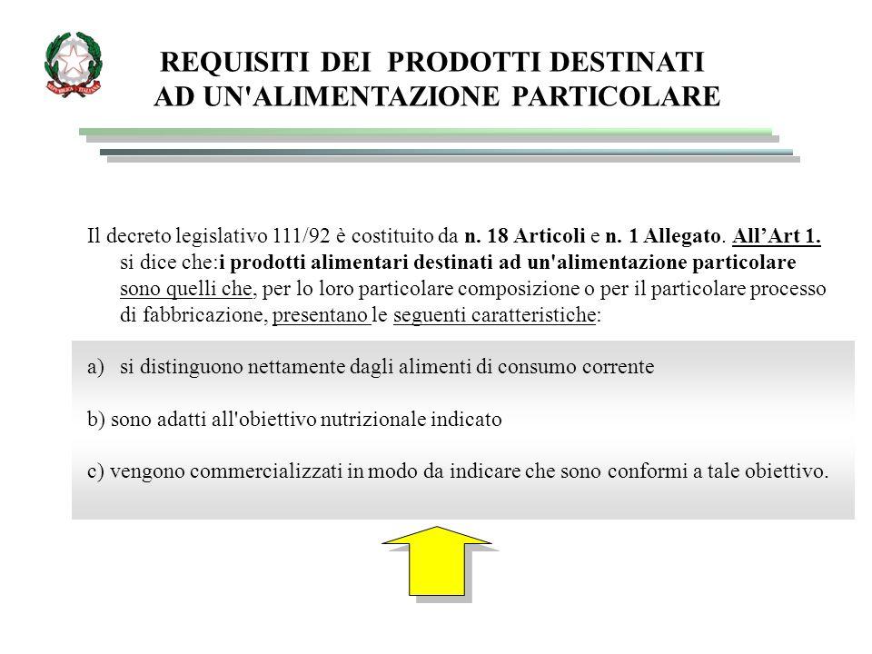 REQUISITI DEI PRODOTTI DESTINATI AD UN'ALIMENTAZIONE PARTICOLARE Il decreto legislativo 111/92 è costituito da n. 18 Articoli e n. 1 Allegato. All'Art