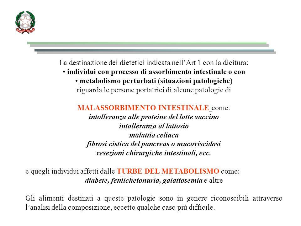 La destinazione dei dietetici indicata nell'Art 1 con la dicitura: individui con processo di assorbimento intestinale o con metabolismo perturbati (si