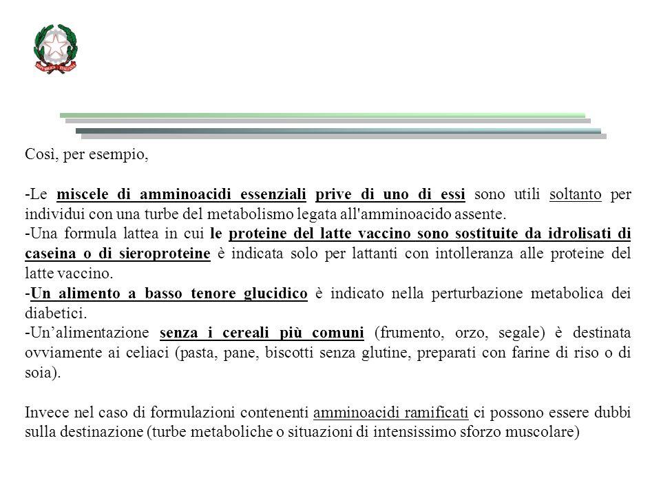 Così, per esempio, -Le miscele di amminoacidi essenziali prive di uno di essi sono utili soltanto per individui con una turbe del metabolismo legata all amminoacido assente.