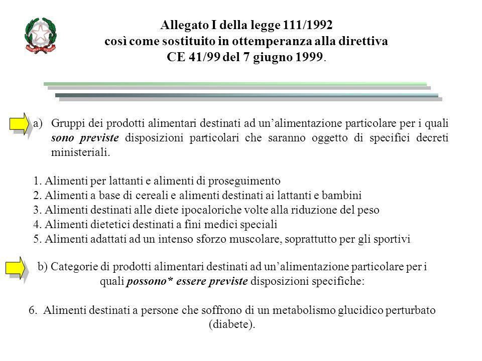 a)Gruppi dei prodotti alimentari destinati ad un'alimentazione particolare per i quali sono previste disposizioni particolari che saranno oggetto di specifici decreti ministeriali.