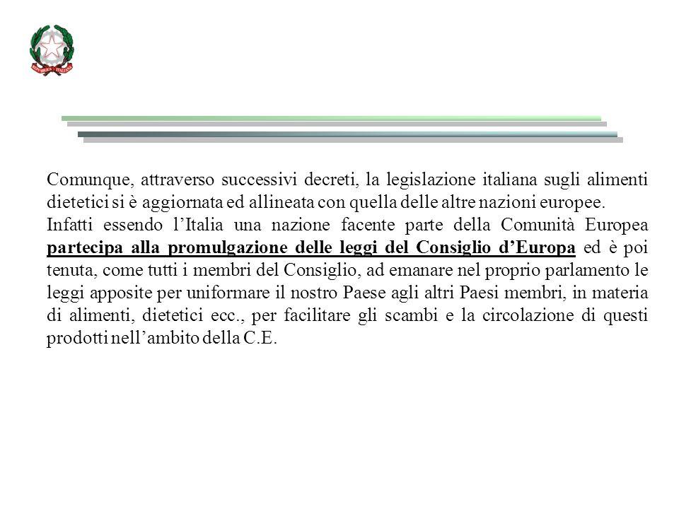 Comunque, attraverso successivi decreti, la legislazione italiana sugli alimenti dietetici si è aggiornata ed allineata con quella delle altre nazioni