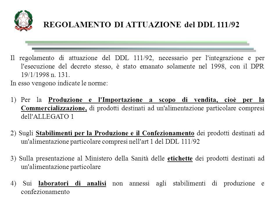 REGOLAMENTO DI ATTUAZIONE del DDL 111/92 Il regolamento di attuazione del DDL 111/92, necessario per l integrazione e per l esecuzione del decreto stesso, è stato emanato solamente nel 1998, con il DPR 19/1/1998 n.
