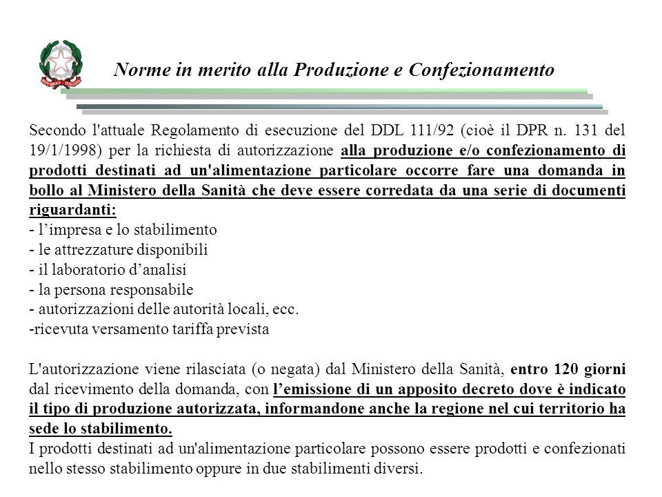Norme in merito alla Produzione e Confezionamento Secondo l'attuale Regolamento di esecuzione del DDL 111/92 (cioè il DPR n. 131 del 19/1/1998) per la