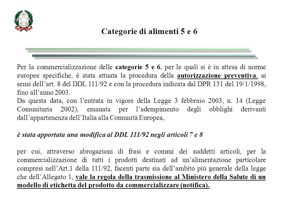 Per la commercializzazione delle categorie 5 e 6, per le quali si è in attesa di norme europee specifiche, è stata attuata la procedura della autorizzazione preventiva, ai sensi dell'art.