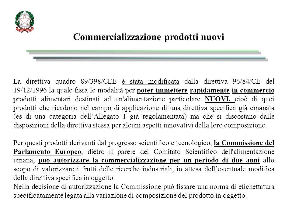 Commercializzazione prodotti nuovi La direttiva quadro 89/398/CEE è stata modificata dalla direttiva 96/84/CE del 19/12/1996 la quale fissa le modalità per poter immettere rapidamente in commercio prodotti alimentari destinati ad un alimentazione particolare NUOVI, cioè di quei prodotti che ricadono nel campo di applicazione di una direttiva specifica già emanata (es di una categoria dell'Allegato 1 già regolamentata) ma che si discostano dalle disposizioni della direttiva stessa per alcuni aspetti innovativi della loro composizione.