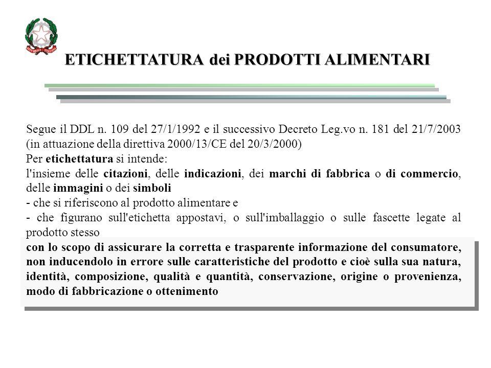 ETICHETTATURA dei PRODOTTI ALIMENTARI Segue il DDL n. 109 del 27/1/1992 e il successivo Decreto Leg.vo n. 181 del 21/7/2003 (in attuazione della diret