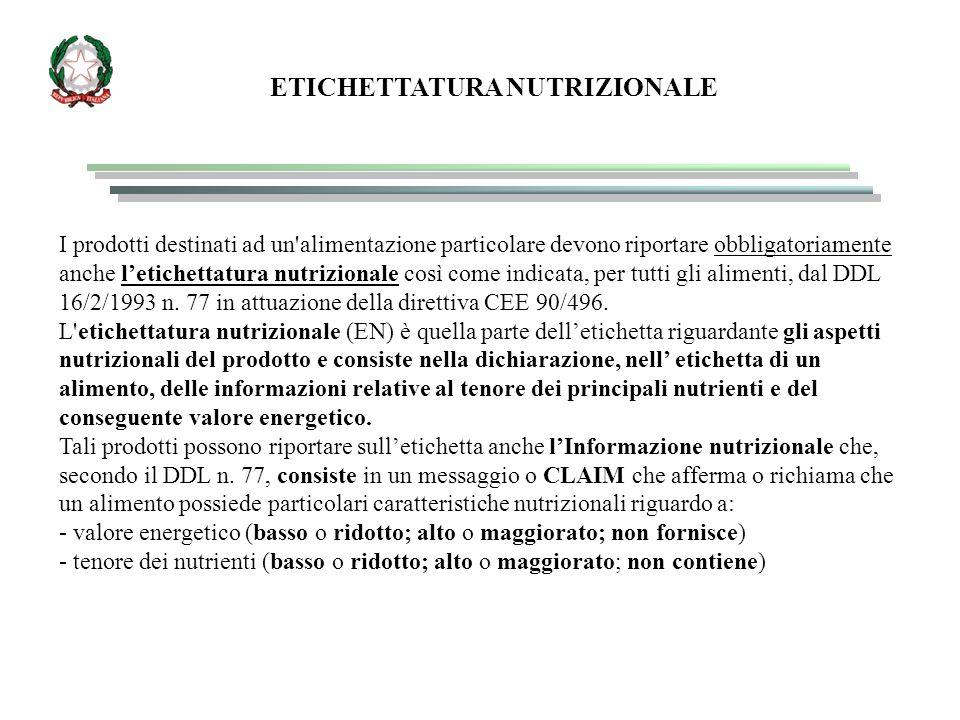 ETICHETTATURA NUTRIZIONALE I prodotti destinati ad un alimentazione particolare devono riportare obbligatoriamente anche l'etichettatura nutrizionale così come indicata, per tutti gli alimenti, dal DDL 16/2/1993 n.