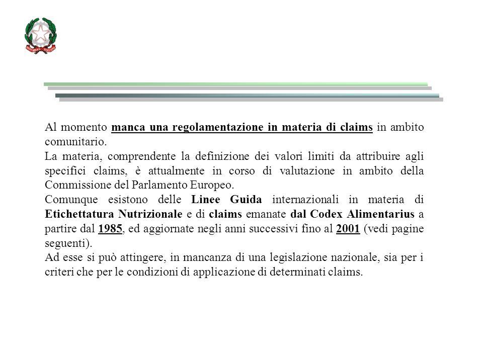Al momento manca una regolamentazione in materia di claims in ambito comunitario. La materia, comprendente la definizione dei valori limiti da attribu