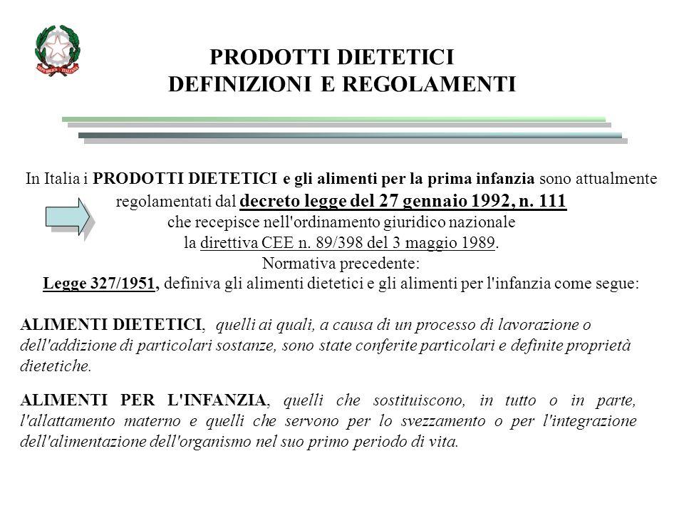 ETICHETTATURA dei prodotti destinati ad un alimentazione particolare Le etichette di questi prodotti, oltre ad essere conformi alle norme generali sull etichettatura dei prodotti alimentari (decreto 109 del 27/1/1992 e 181 del 23/6/2003) devono riportare, a norma della legge 111/92 *, relativa ai prodotti destinati ad un'alimentazione particolare, quanto segue: -* la denominazione di vendita accompagnata dall indicazione delle caratteristiche nutrizionali particolari o, per gli alimenti destinati all infanzia, dall indicazione della destinazione; - l elenco degli ingredienti; -* gli elementi particolari della composizione qualitativa o quantitativa o il processo particolare di fabbricazione che conferiscono al prodotto le sue caratteristiche nutrizionali particolari; - il quantitativo netto; - termine minimo di conservazione o, se è il caso, data di scadenza;
