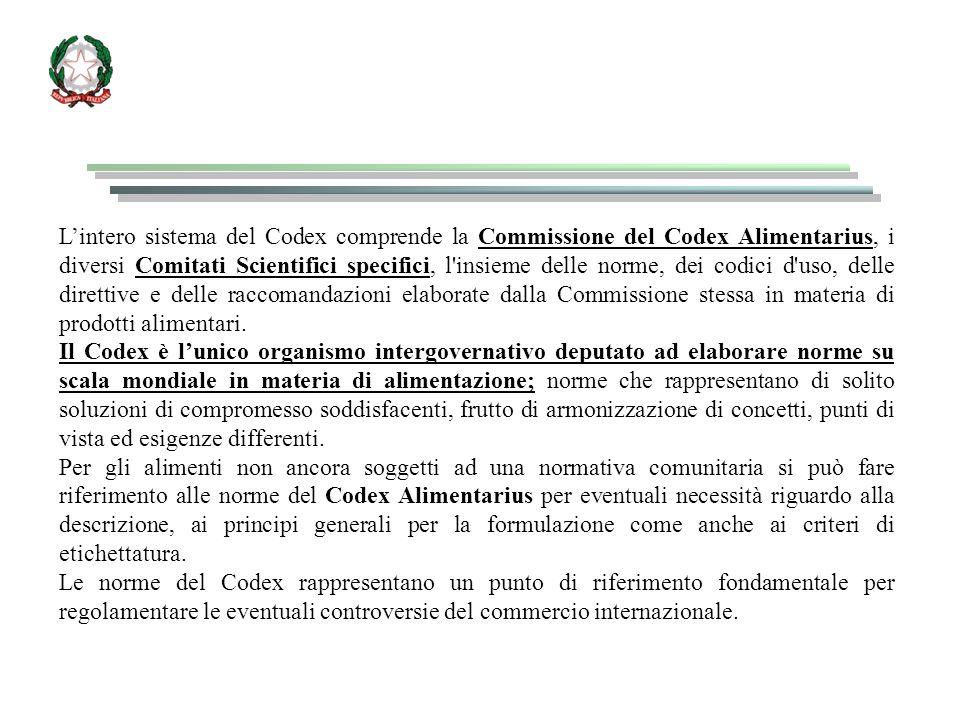L'intero sistema del Codex comprende la Commissione del Codex Alimentarius, i diversi Comitati Scientifici specifici, l insieme delle norme, dei codici d uso, delle direttive e delle raccomandazioni elaborate dalla Commissione stessa in materia di prodotti alimentari.
