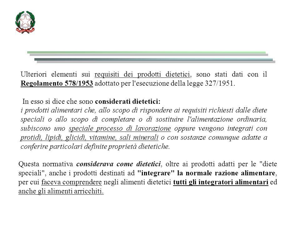 Ulteriori elementi sui requisiti dei prodotti dietetici, sono stati dati con il Regolamento 578/1953 adottato per l'esecuzione della legge 327/1951. I