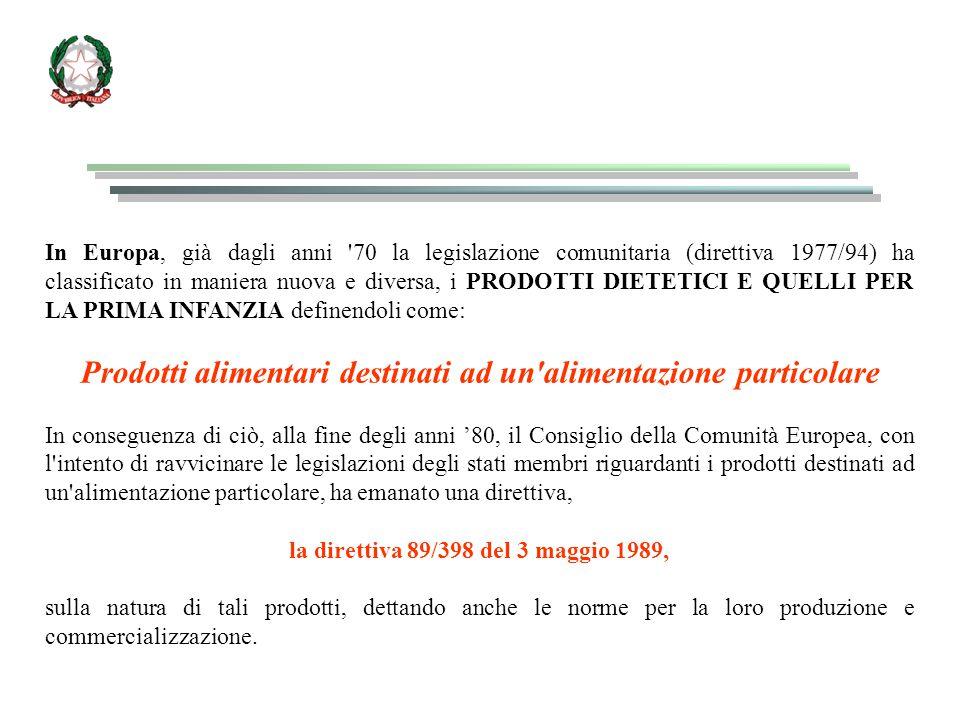Al momento, in ambito Europeo e in Italia, risultano regolamentate, tra quelle previste, le seguenti categorie di prodotti: 1) Alimenti per lattanti e alimenti di proseguimento (Europa: norme CEE 91/321 del 14/5/1991 e CE 96/4 del 16/2/1996) (Italia: DM 500 del 6/4/1994; DM 518/98; DM 31/5/2001) 2) Alimenti a base di cereali e alimenti destinati ai lattanti e ai bambini (Europa: norme CE 96/5 del 14/2/1996 e CE 98/36) (Italia: DPR.