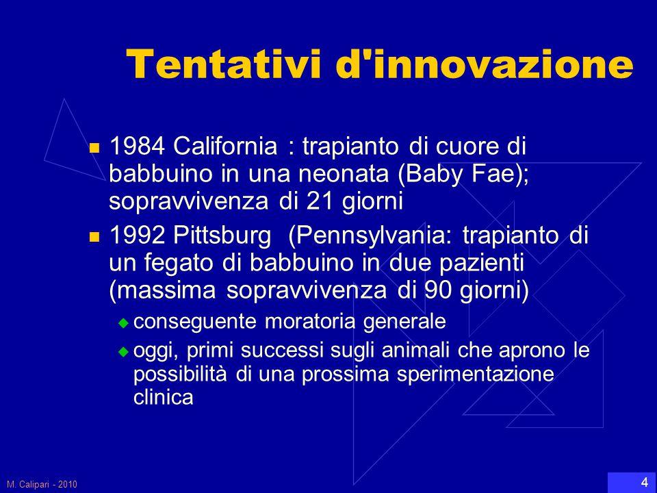 M. Calipari - 2010 4 Tentativi d'innovazione 1984 California : trapianto di cuore di babbuino in una neonata (Baby Fae); sopravvivenza di 21 giorni 19