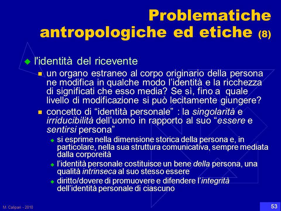 M. Calipari - 2010 53 Problematiche antropologiche ed etiche (8)  l'identità del ricevente un organo estraneo al corpo originario della persona ne mo