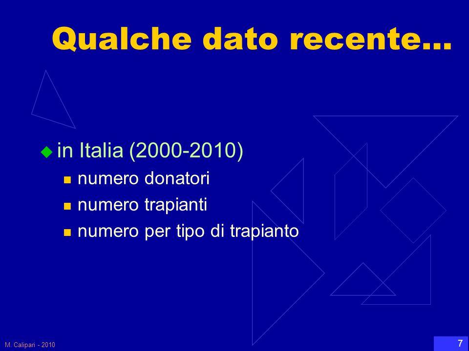 M. Calipari - 2010 7 Qualche dato recente…  in Italia (2000-2010) numero donatori numero trapianti numero per tipo di trapianto