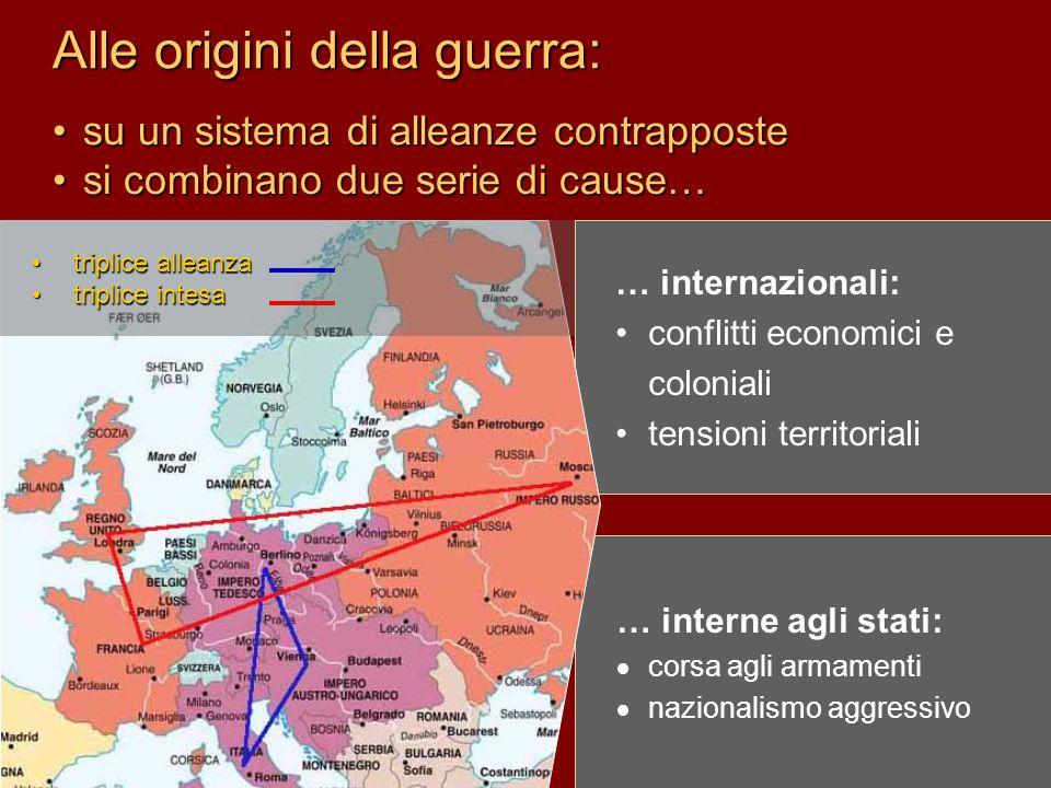 Alle origini della guerra: … internazionali: conflitti economici e coloniali tensioni territoriali … interne agli stati:  corsa agli armamenti  nazi