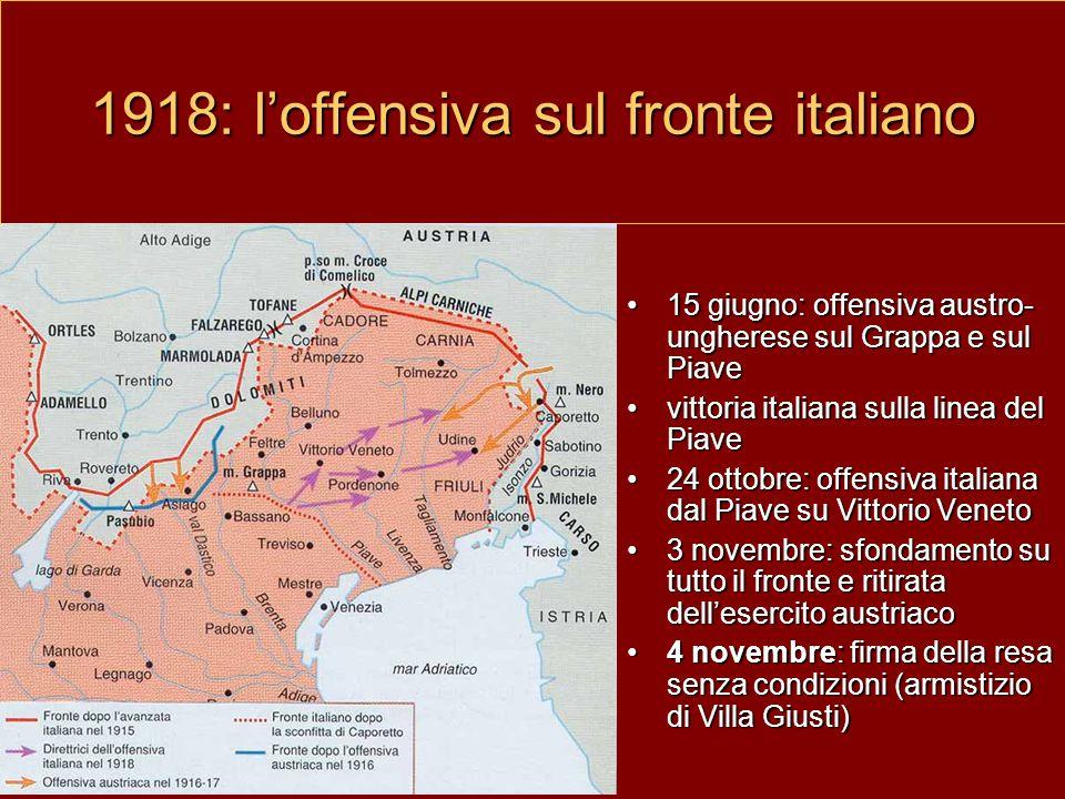 1918: l'offensiva sul fronte italiano 15 giugno: offensiva austro- ungherese sul Grappa e sul Piave vittoria italiana sulla linea del Piave 24 ottobre: offensiva italiana dal Piave su Vittorio Veneto 3 novembre: sfondamento su tutto il fronte e ritirata dell'esercito austriaco 4 novembre: firma della resa senza condizioni (armistizio di Villa Giusti)