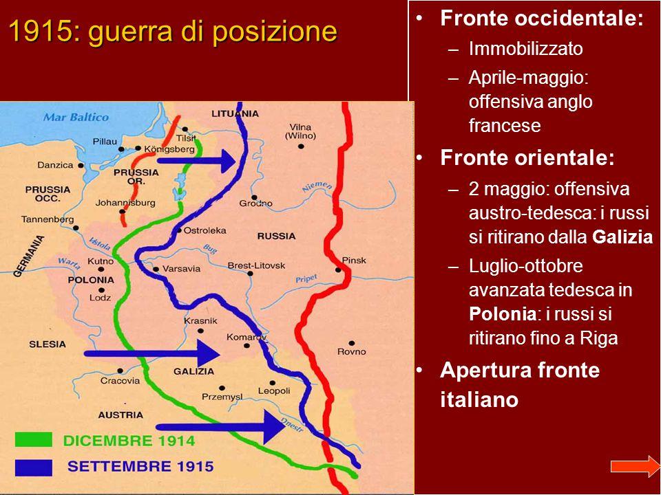 1915: guerra di posizione Fronte occidentale: –Immobilizzato –Aprile-maggio: offensiva anglo francese Fronte orientale: –2 maggio: offensiva austro-tedesca: i russi si ritirano dalla Galizia –Luglio-ottobre avanzata tedesca in Polonia: i russi si ritirano fino a Riga Apertura fronte italiano