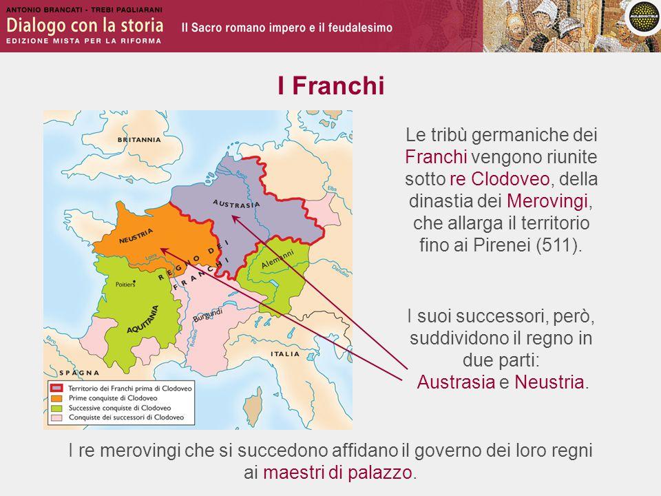 I maestri di palazzo 687 714 732 Pipino di Héristal, maggiordomo di Austrasia, riunifica il regno, governandolo per conto del re merovingio A Pipino succede il figlio Carlo Martello Carlo Martello sconfigge gli Arabi a Poitiers e li respinge oltre i Pirenei Il figlio Pipino il Breve depone l'ultimo re merovingio e si fa incoronare re dei Franchi da papa Stefano II 752