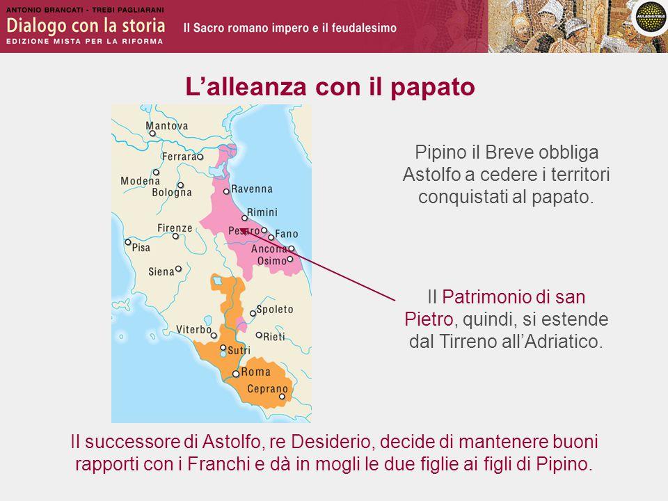L'alleanza con il papato Pipino il Breve obbliga Astolfo a cedere i territori conquistati al papato.