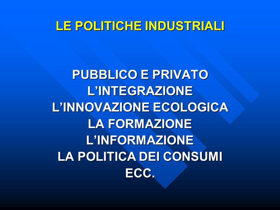 LE POLITICHE INDUSTRIALI PUBBLICO E PRIVATO L'INTEGRAZIONE L'INNOVAZIONE ECOLOGICA LA FORMAZIONE L'INFORMAZIONE LA POLITICA DEI CONSUMI ECC.