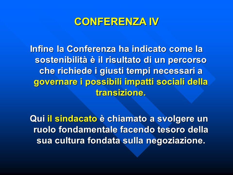 CONFERENZA IV Infine la Conferenza ha indicato come la sostenibilità è il risultato di un percorso che richiede i giusti tempi necessari a governare i possibili impatti sociali della transizione.