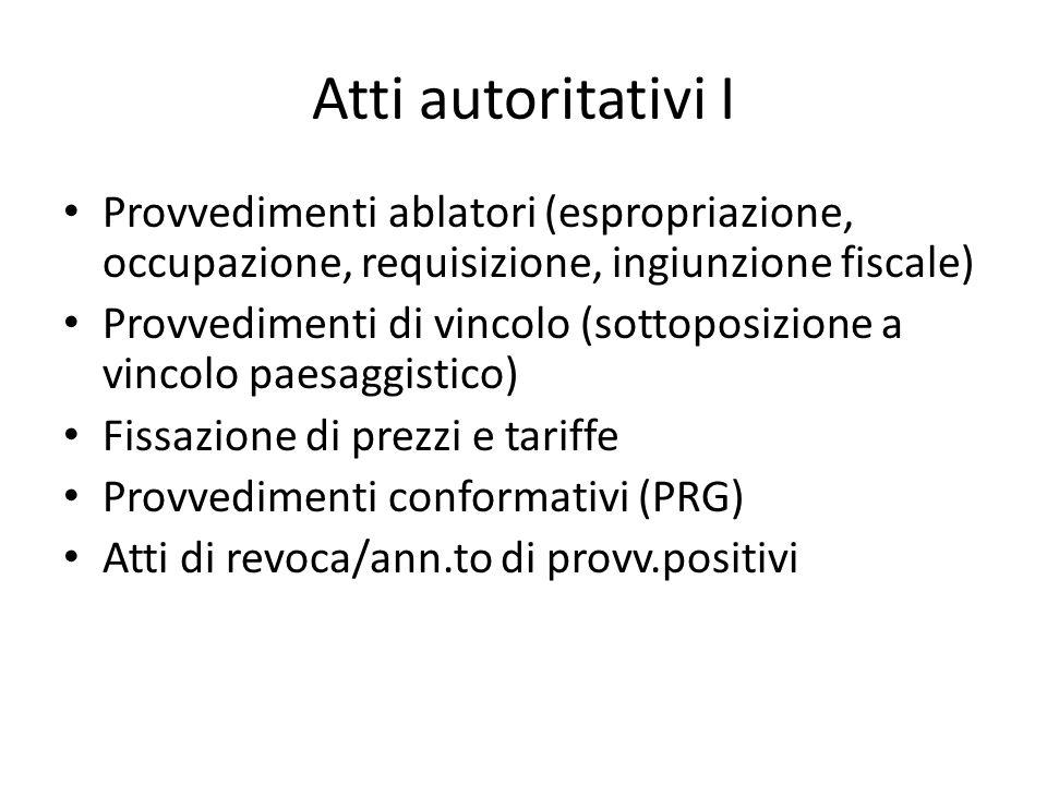 Atti autoritativi I Provvedimenti ablatori (espropriazione, occupazione, requisizione, ingiunzione fiscale) Provvedimenti di vincolo (sottoposizione a