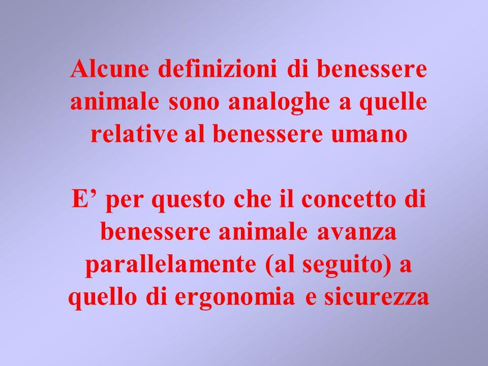 Alcune definizioni di benessere animale sono analoghe a quelle relative al benessere umano E' per questo che il concetto di benessere animale avanza parallelamente (al seguito) a quello di ergonomia e sicurezza