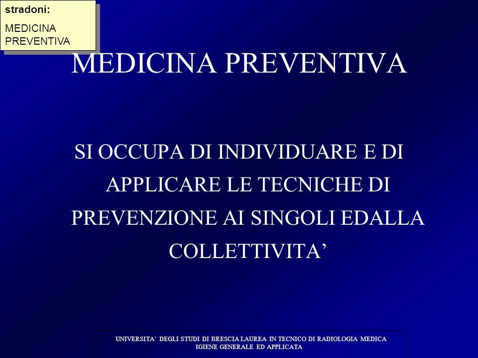 UNIVERSITA' DEGLI STUDI DI BRESCIA LAUREA IN TECNICO DI RADIOLOGIA MEDICA IGIENE GENERALE ED APPLICATA stradoni: MEDICINA PREVENTIVA stradoni: MEDICIN