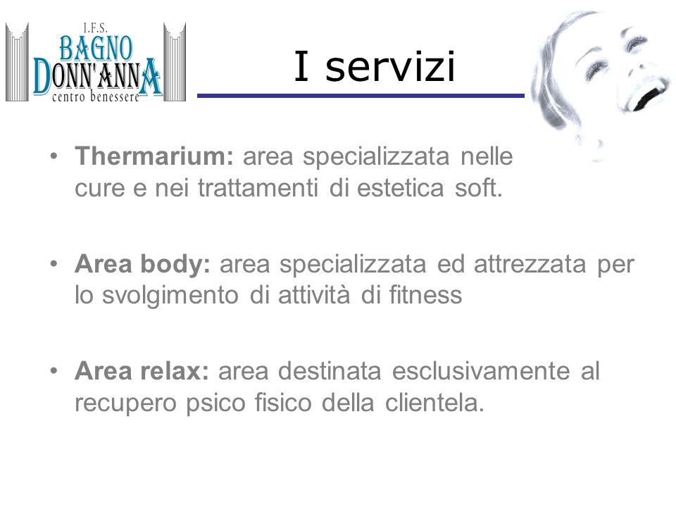 I servizi Thermarium: area specializzata nelle cure e nei trattamenti di estetica soft. Area body: area specializzata ed attrezzata per lo svolgimento