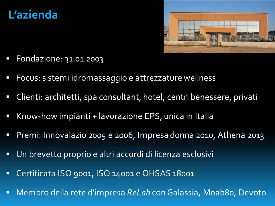  Fondazione: 31.01.2003  Focus: sistemi idromassaggio e attrezzature wellness  Clienti: architetti, spa consultant, hotel, centri benessere, privat