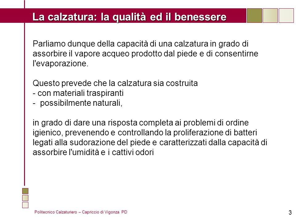 Politecnico Calzaturiero – Capriccio di Vigonza PD La calzatura: la qualità ed il benessere 4 Gli elementi che devono garantire questi requisiti sono: - la tomaia - la fodera - il sottopiede.