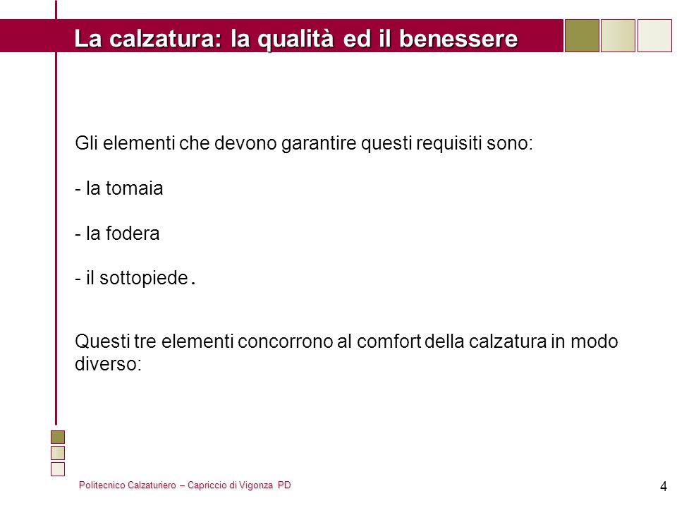 Politecnico Calzaturiero – Capriccio di Vigonza PD La calzatura: la qualità ed il benessere 5 La tomaia viene valutata in base alla sua capacità di assorbimento e di traspirazione (o permeabilità) del vapore d acqua.