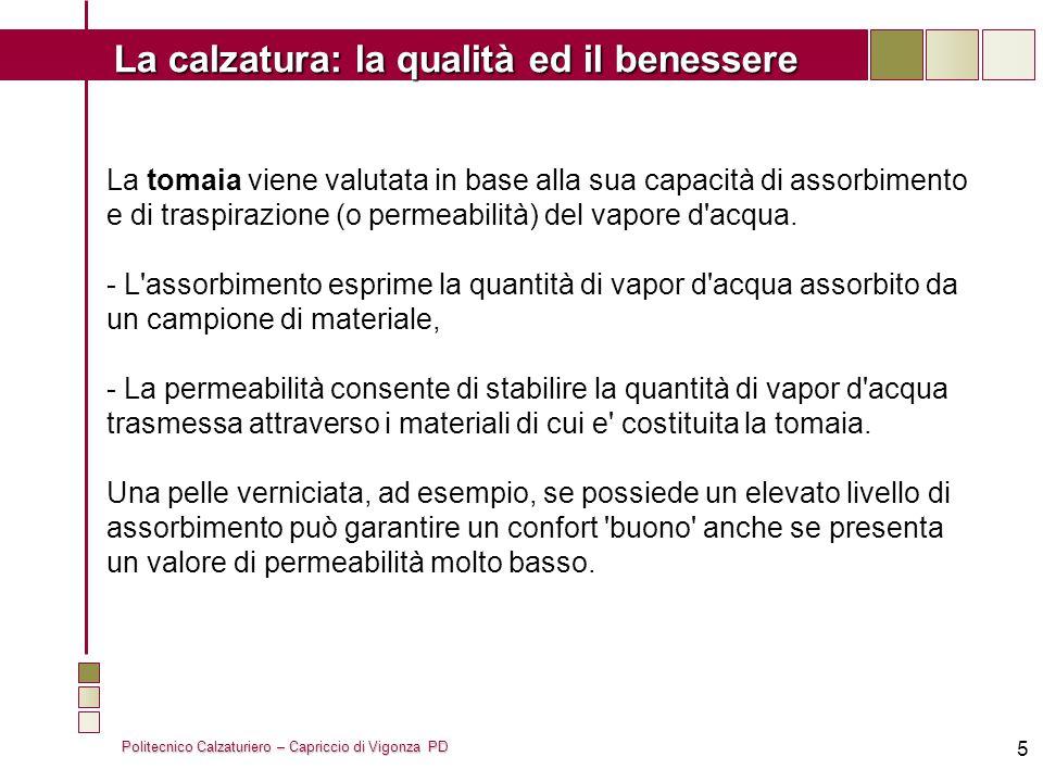 Politecnico Calzaturiero – Capriccio di Vigonza PD La calzatura: la qualità ed il benessere 6 Nelle fodere il parametro di comfort più importante e rappresentato dalla traspirabilità, mentre l assorbimento ha un ruolo secondario.