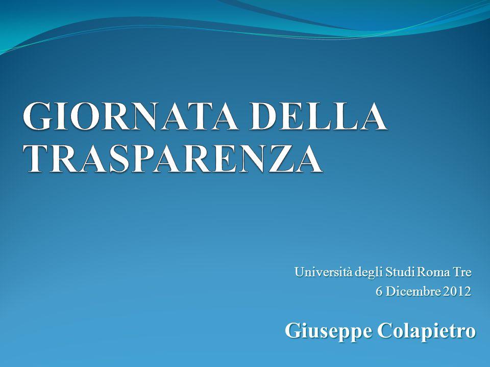 Università degli Studi Roma Tre 6 Dicembre 2012 Giuseppe Colapietro