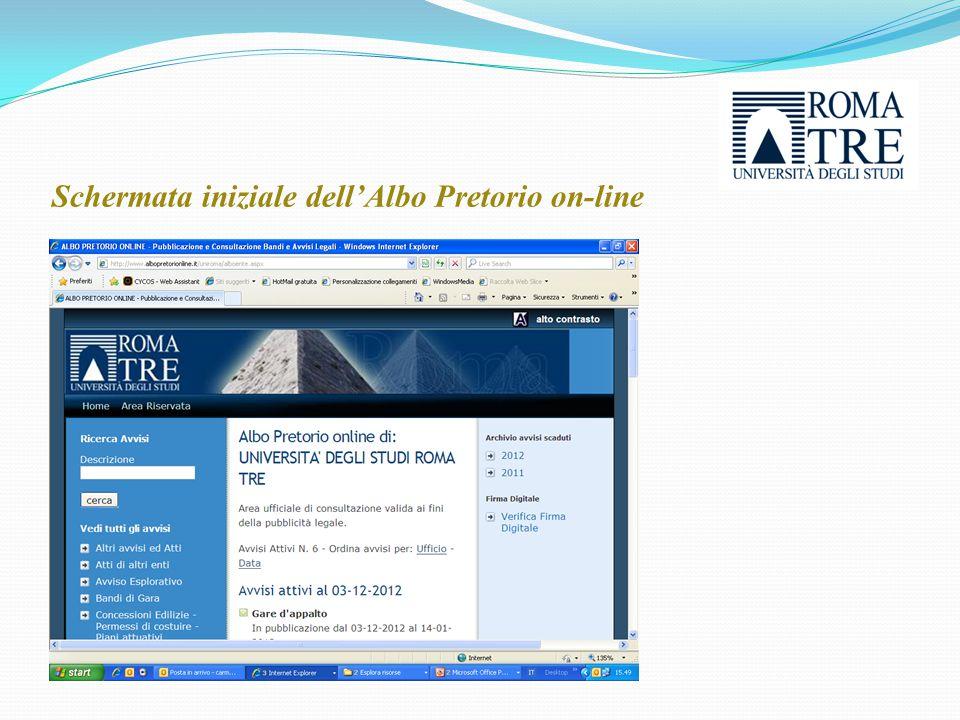 Schermata iniziale dell'Albo Pretorio on-line