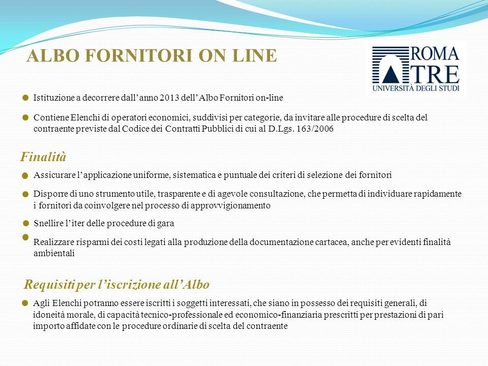Istituzione a decorrere dall'anno 2013 dell'Albo Fornitori on-line Contiene Elenchi di operatori economici, suddivisi per categorie, da invitare alle procedure di scelta del contraente previste dal Codice dei Contratti Pubblici di cui al D.Lgs.