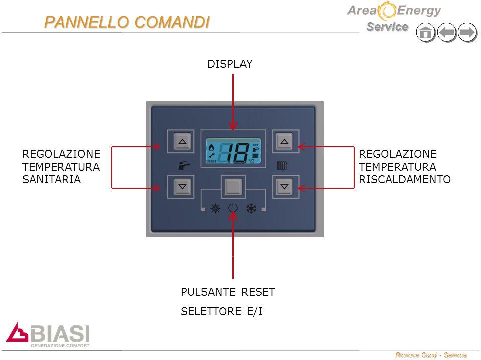 Rinnova Cond - Gamma Service PANNELLO COMANDI REGOLAZIONE TEMPERATURA RISCALDAMENTO REGOLAZIONE TEMPERATURA SANITARIA PULSANTE RESET SELETTORE E/I DIS