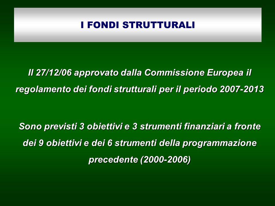 I FONDI STRUTTURALI Il 27/12/06 approvato dalla Commissione Europea il regolamento dei fondi strutturali per il periodo 2007-2013 Sono previsti 3 obiettivi e 3 strumenti finanziari a fronte dei 9 obiettivi e dei 6 strumenti della programmazione precedente (2000-2006)